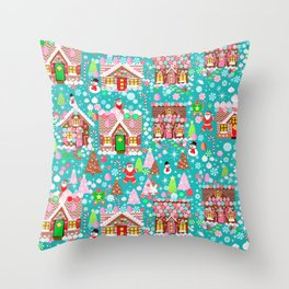 Christmas Gingerbread House Candy Village Throw Pillow