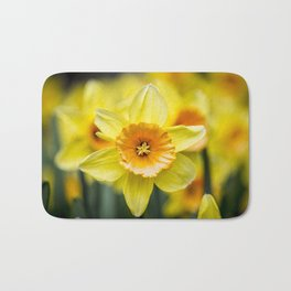 Closeup of a Bright Yellow Daffodil Flower in the Spring in Amsterdam, Netherlands Bath Mat