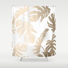 Simply Tropical Palm Leaves in White Gold Sands Shower Curtain