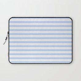Mattress Ticking Wide Striped Pattern in Pale Blue and White Laptop Sleeve