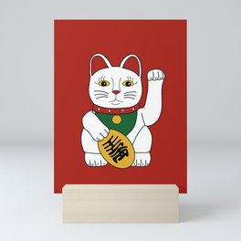 Maneki Neko - lucky cat - red Mini Art Print