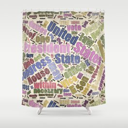 Colorful Constitution Text Graphic Shower Curtain