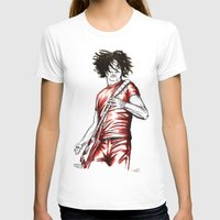jack white T-shirts featuring Jack White Red Watercolor by Tom Brodie-Browne