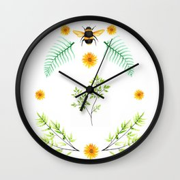 Bees in the Garden v.2 - Watercolor Graphic Wall Clock