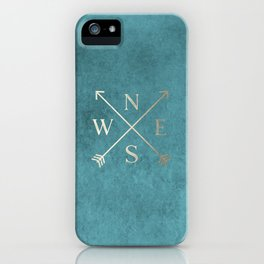 Gold on Turquoise Distressed Compass Adventure Design iPhone Case