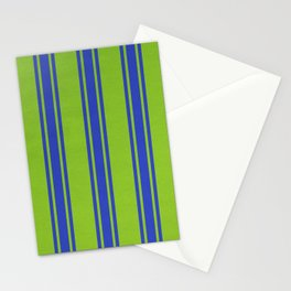 Blue lines on a green background Stationery Cards