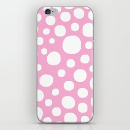 Pink Negative Dots w/ White Background iPhone Skin