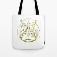hippo Tote Bags featuring hippo by jenapaul