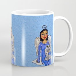 Peaceful Folk Art Angel White Cat Angel Sky on Cloud Blue Coffee Mug