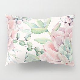 Pink Succulents on Cream Pillow Sham