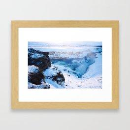 Gulfoss in winter's blue Framed Art Print