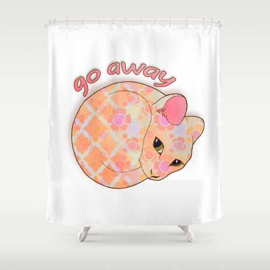 Go Away - Patterned Cat Illustration  Shower Curtain