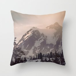 Pink Mountain Morning - Nature Photography Throw Pillow