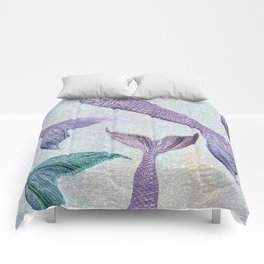 Amethyst and Teal Mermaid Tails Comforters
