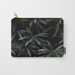 Deep Dark Dense Olive Green Plant Leaves Natural Leaf Pattern Symmetry Starburst Leaves Carry-All Pouch