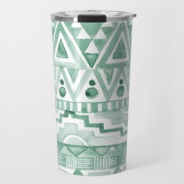 Watercolor Aztec Pattern Green Travel Mug