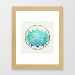 Modern Blue Succulent with Metallic Accents Framed Art Print