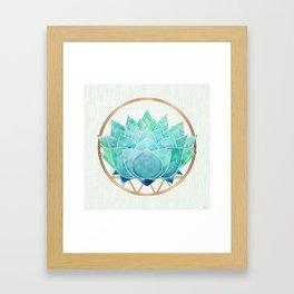 Modern Blue Succulent with Metallic Accents Framed Art Print