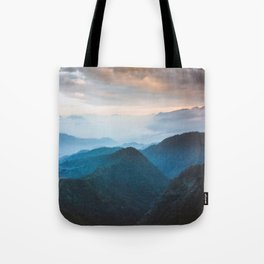 Blue Turquoise Mountains With Orange Sunset Sky Landscape Tote Bag