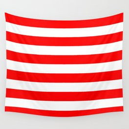 Horizontal Stripes (Red/White) Wall Tapestry