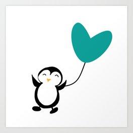 Penguin in love White Art Print