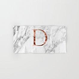 Monogram rose gold marble D Hand & Bath Towel