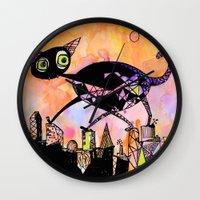 black cat Wall Clocks featuring black cat by Bunny Noir