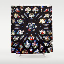 Stained glass sainte chapelle gothic Shower Curtain