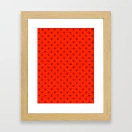 Black on Scarlet Red Snowflakes Framed Art Print