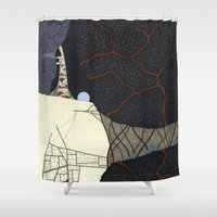 kaiju Shower Curtains featuring kaiju by thefleafarm (Amy Wright)