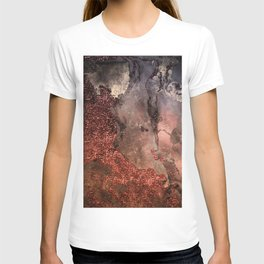 Copper Glitter Stone and Ink Abstract Gem Glamour Marble T-shirt