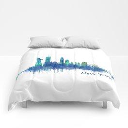 New York City Skyline Hq v06 cityscape Comforters