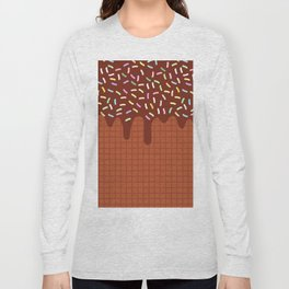 chocolate waffles with flowing chocolate sauce and sprinkles Long Sleeve T-shirt