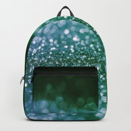 Aqua Glitter effect- Sparkling print in green and blue Backpack