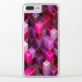 Violet Cubes Clear iPhone Case