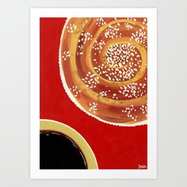 Coffee & cinnamon bun Art Print
