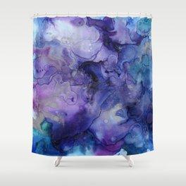 Abstract Watercolor Coastal, Indigo, Blue, Purple Shower Curtain