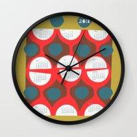 calendar Wall Clocks featuring 2013 retro calendar by ottomanbrim