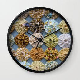 Quilted Yoyos in Yellow pattern by robayre Wall Clock