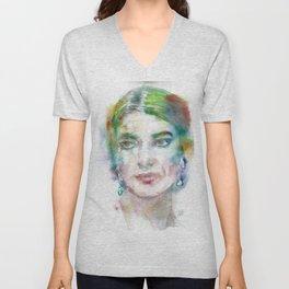 MARIA CALLAS - watercolor portrait Unisex V-Neck