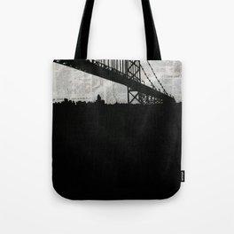 Paper City, Newspaper Bridge Collage Tote Bag