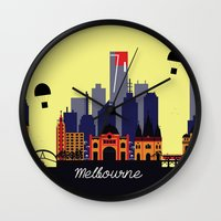 melbourne Wall Clocks featuring Lovely Melbourne by Jollybird Designs