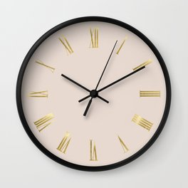 Gold Roman Numerals Wall Clock on Light Pink Background Wall Clock