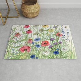 Watercolor of Garden Flower Medley Rug