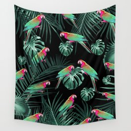 Parrots in the Tropical Jungle Night #1 #tropical #decor #art #society6 Wall Tapestry