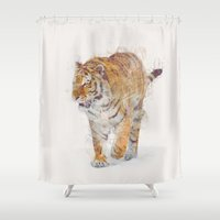 tiger Shower Curtains featuring Tiger  by Daniel Taylor
