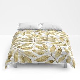 Modern gold autumn leaves design Comforters