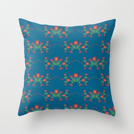 Small floral kitchen collection blue Throw Pillow