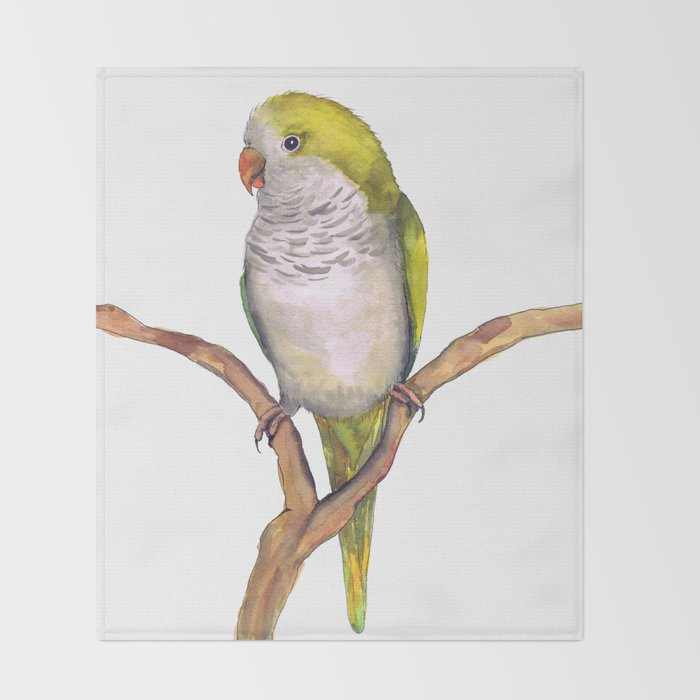 quaker parrot in watercolor throw blanket by wizzies society6
