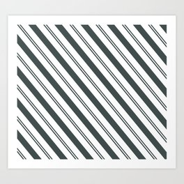 PPG Night Watch Pewter Green  and Dark Green Stripes Angled Lines Art Print